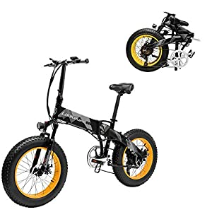 MDDCER Upgrade-48V 1000W Elektrisches Gebirgsfahrrad 20 Zoll Fat Tire E-Bike (Speed ​​40 Km/H) Cruiser Mens Sport Bike Fully Erwachsener MTB Dirtbike, Gelb
