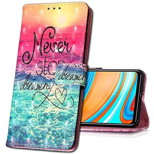 MRSTER Huawei Y7 2019 Handytasche, Leder Schutzhülle Brieftasche Hülle Flip Hülle 3D Muster Cover Stylish PU Tasche Schutzhülle Handyhüllen für Huawei Y7 2019. YB Sea