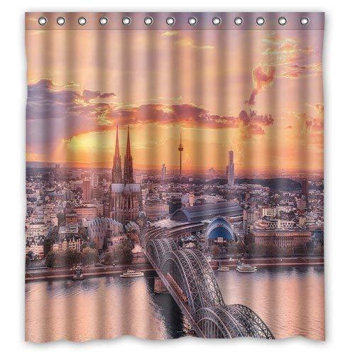 UUONLY Dekorative Köln Deutschland Duschvorhang Wasserdichtes Gewebe Polyester Badvorhang -Badezimmer Dekor 3D Duschvorhänge 165x180 cm