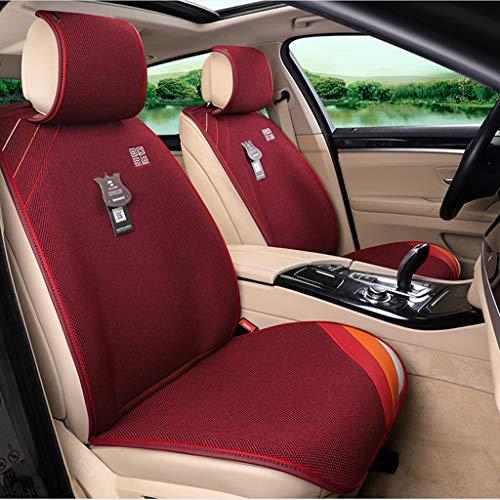 DaFei Cuscino Car Seat Covers, 5 Sede Set Completo Universale Compatibile Airbag Anteriore E Posteriore Traspirante Comfort Fabric Protector (Color : Red)
