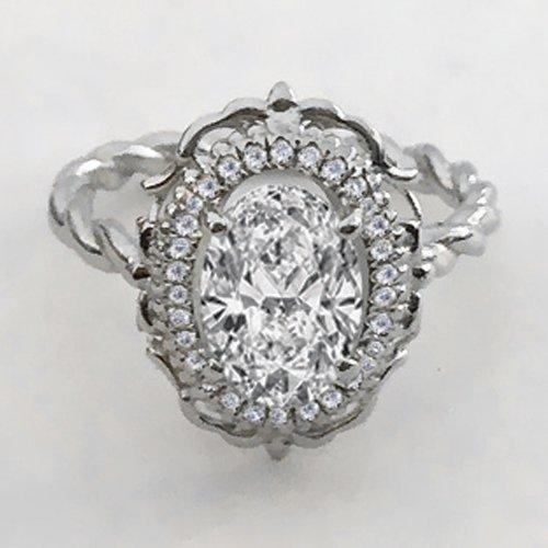2.20ct Oval Cut Diamond Engagement Ring 14k White Gold Palladium Platinum Halo Handmade Diamond Ring Art Deco Anniversary Ring