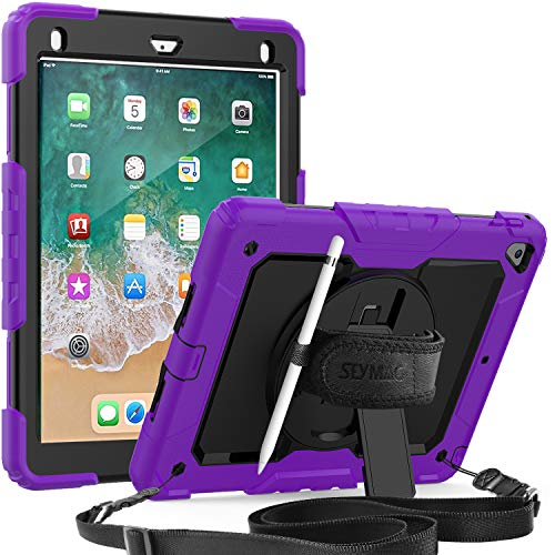 SEYMAC iPad 5th/6th Generation 9.7 Case, 3 Layer Shockproof Case with [Built-in Screen Protector] Pencil Holder 360 Degree Rotatable Stand [Hand Strap] for iPad 5th/6th/Air 2/ Pro 9.7 (Purple/Black)