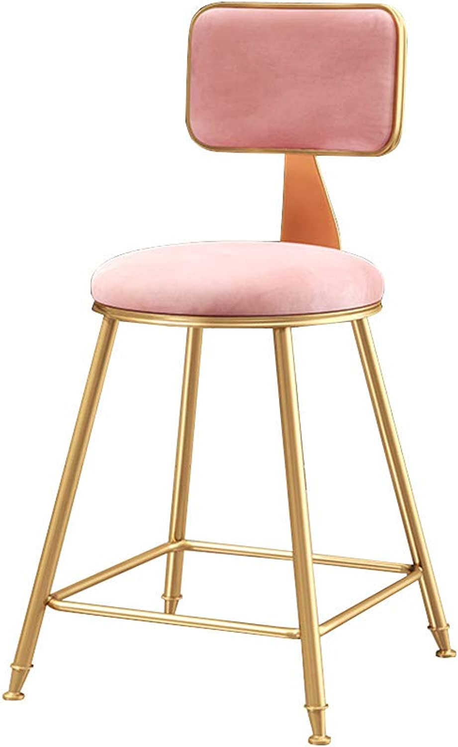 Modern Bar Stools with Back Counter Height Bistro Pub Side Chairs Barstools Footrest with Metal Legs Velvet Cushion for Home Kitchen,Pink
