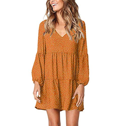 Auimank Women Summer Tunic Dress V Neck Casual Loose Flowy Swing Shift Dresses(C-Orange,X-Large)