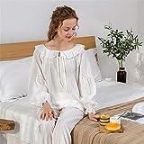 BaoYPP Pijamas de Las Señoras Conjunto de Pijamas para Mujer Loungewear para Mujer 2 Piezas Ropa de Dormir Algodón Suave Mangas largas Camisón Mujeres Dormir (Color : White)