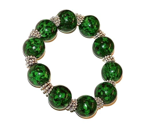 *HUGE BEADS SALE!* JSB Chunky Round Snowflake Glass Bracelet KIT Collection (GREEN) ~ Ref:4B10 ~ NO SPECIAL TOOLS REQUIRED