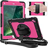 Timecity Case for iPad Air2/ iPad 6th/5th Generation Case 2018 2017/ iPad Pro 9.7 Case. with Screen Protector Pencil Holder Rotating Stand/Strap Full-Body Silicone+PC Protective Case Rose