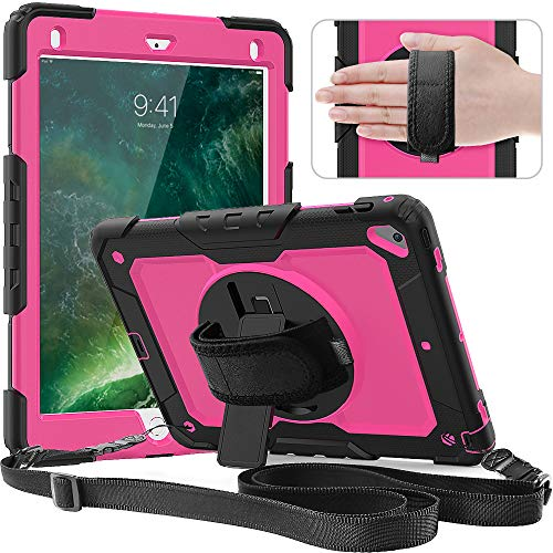 Timecity Case Compatible with iPad Air2/ iPad 6th/5th Generation Case 2018 2017/ iPad Pro 9.7 Case. with Screen Protector Pencil Holder Rotating Stand/Strap Full-Body Hybrid Armor Protective Case Rose