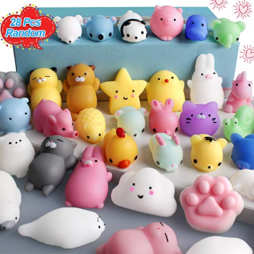 FLY2SKY 28pcs Mochi Squishy Toys Mini Squishies Kawaii Animal Squishys Party Favors Easter Egg Fillers Easter Gifts for Kids Unicorn Cat Panda Animal Squeeze Toy Stress Relief Toy Class Prize Random