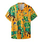 DAY8 Camicie Estive Uomo Maniche Corte Economiche Camicia Vintage Uomo Estiva Simpatiche Floreale Moda Magliette Uomo Taglie Forti Casual Spiaggia (Giallo, XXXL)