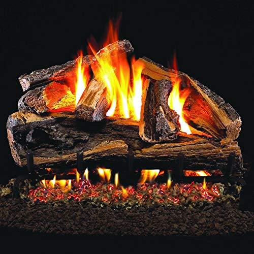 Best Buy! Peterson Real Fyre 30-Inch Rugged Split Oak Gas Log Set with Vented Natural Gas G4 Burner ...