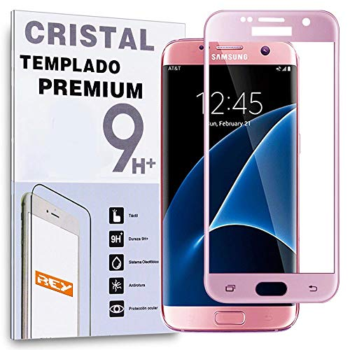 Protector de Pantalla Curvo para Samsung Galaxy S7 Edge, Rosa, Cristal Vidrio...