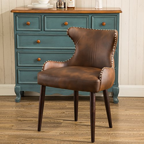 Roundhill Furniture Viking Tufted Button Back barrel chair with Nailhead, Brown, Single