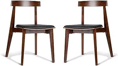 Set of 2 - Masa Ito Oriental Dining Chair - Walnut Frame - Black Cushion Seat