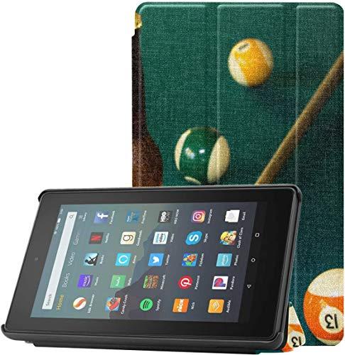 Funda Protectora para Kindle Funda de Billar en la Mesa de Fieltro Rojo para Tableta 7 Fire para Tableta Fire 7 (novena generación, versión 2019), Ligera con Reposo automático