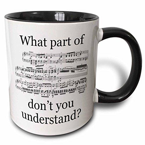 3dRose The Musician's Music Two Tone Mug, 11 oz, Black/White