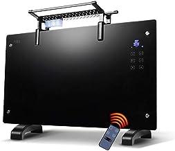LKK-YSZWJ Inteligente Vertical Calefactor Bajo Consumo 2000W,Electrico Convector Radiadores Baño Pared,Pantalla LED Panel Termostato,con Programable Temporizador,para Cuarto de Baño Negro