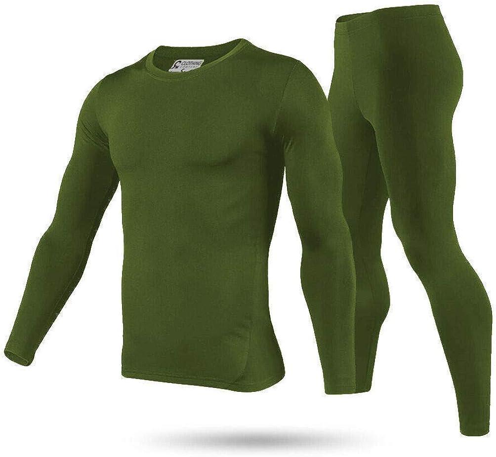 Mens Winter Ultra-Soft Fleece Lined Thermal Top & Bottom Long John Underwear Set (Army Green)