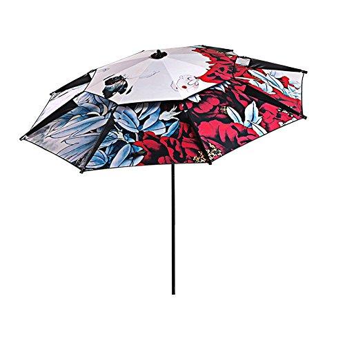 ZHUSAN Angeln Regenschirm Universal Sunscreen Outdoor Sonnenschirm Große Oversize Double White Und Red Sonnenschirm Für Garten Hof Balkon Beach