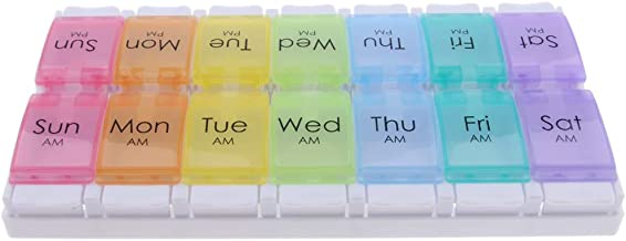 FITYLE 7 Days 14 Compartments AM PM Week Medicine Case Pill Box Twice A Day