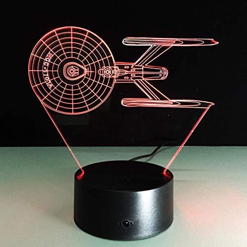 3D Illusion Lamp,Led Night Light Space Warship 3D Optische Illusionslampe LED Nachtlicht Jungen Mädchen Spielzeug Baby Schlafzimmer Tischlampe, 16 Farbwechsel Fernbedienung USB Nachttischlampe Home De