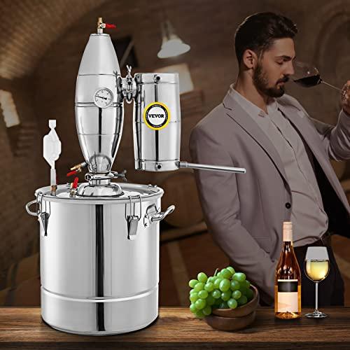 VEVOR Destilador de Alcohol 30 L Alambique Destilación Alcohol de Acero Inoxidable 304 Destilador Moonshine 0-150 ℃ Destilador de Bebida para la Elaboración Casera de Vino Cerveza o Agua con Vinómetro