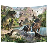 HVEST Jurassic Dinosaur Tapestry Wild Ancient Predator Animal Wall Hanging Tropical Forest with Green Trees and Mountain Wall Tapestries for Bedroom Living Room Dorm Party Wall Decor,60Wx40H inches