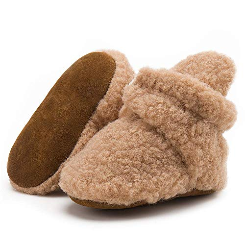 Isbasic Newborn Infant Baby Boys Girls Warm Cozy Cotton Winter Booties Toddler Non-Slip Soft Sole Slippers Socks Crib Shoes(M1921 fleece khaki,1)