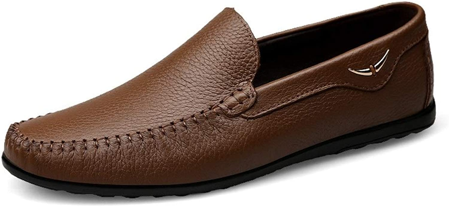 Men's Driving Loafer Boat Moccasins Slip-on Style shoes Breathable Leather Delicate Hollow Round Toe