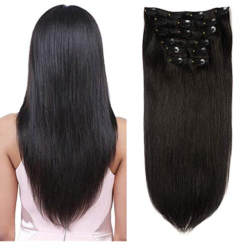 Lovbite 18Inch Straight Hair Extensions Clip in Human Hair Double Weft Natural Black Clip in Hair Extensions 7Pcs 100G Real Thick Hair Extensions Clip ins Silky Straight Hair Total 16Clips in