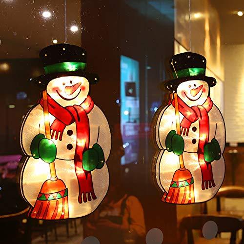 LED habitación de los niños ventana de navidad forma de luz imagen de la ventana ventosa silueta de la ventana luces navideñas con pilas deco luz para escaparate de tienda (2 piezas),Snowman