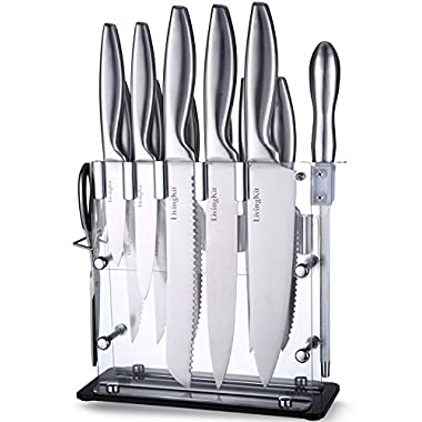 LivingKit Knife Set 14 Piece Kitchen Knives Chef Bread Carving Utility Paring Steak Knife Scissors Sharpener and Acrylic Stand Block
