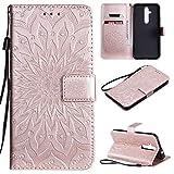 KKEIKO Hülle für Nokia 8.1 Plus, PU Leder Brieftasche Schutzhülle Klapphülle, Sun Blumen Design Stoßfest Handyhülle für Nokia 8.1 Plus - Roségold