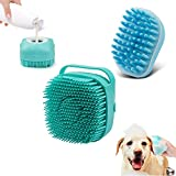 2Pack Dog Bath Brush, Soft Silicone Pet Shampoo Massage Dispenser Grooming Shower Brush for Short Long Haired Dogs and Cats Washing, ISWAYSTORE