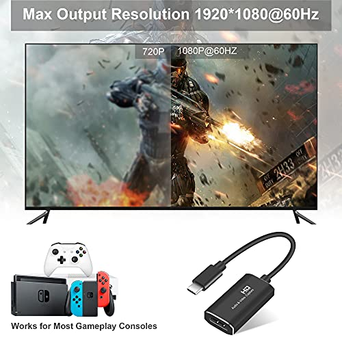 TKHIN Capture Card, Audio Video Capture Card HDMI Game Capture to USB 1080p 60fps, with Type-C to USB Adapter Converter, 4K Full HD Game Capture Low Latency Record for Live Streaming/Gameplay Console