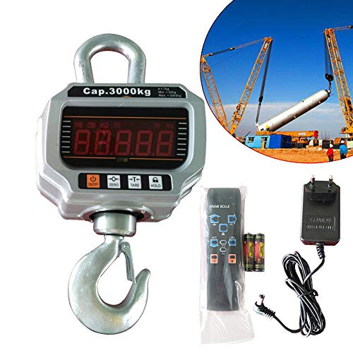 Báscula electrónica de 3000 kg/1 kg para grúa, báscula colgante digital, con pantalla LED y mando a distancia, envío desde Alemania