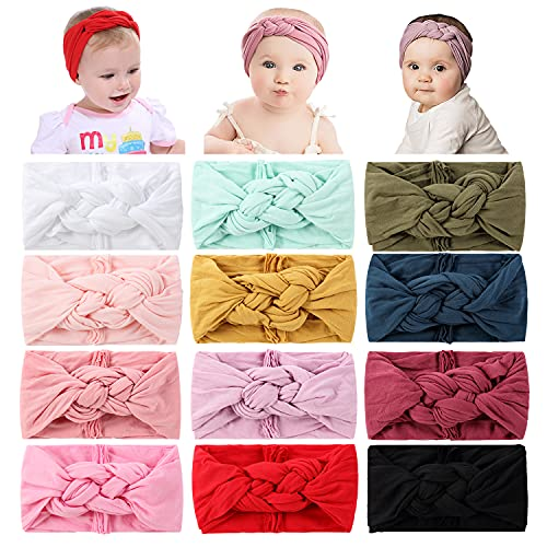 Cinaci 12 Pack Solid Super Stretchy Nylon Wide Celtic Knotted Headbands Headwrap Hair Accessories for Baby Girls Infants Toddlers Kids Teens