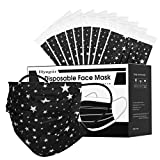 50 Pack Stars Individually Wrapped Disposable Face Mask, 3-Ply Non-woven Pattern Breathable Protective Face masks,Product Mouth and Nose Cover for Adults.