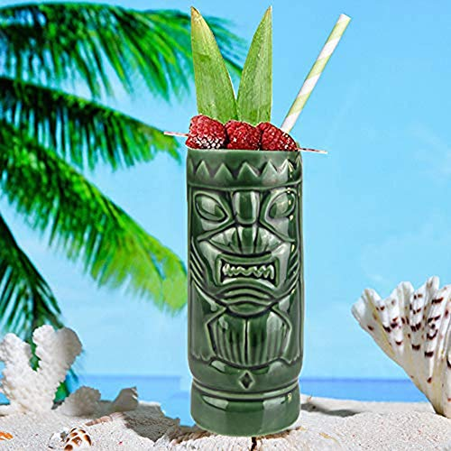 HiFuture Tiki Mugs Set, Tiki Cocktail Drinking Glasses, Tiki Mugs Cocktail Glasses, Tiki Bar Glasses, Ceramic Cocktail Mugs Glasses Drinks Cups Hawaiian Party Barware Parties