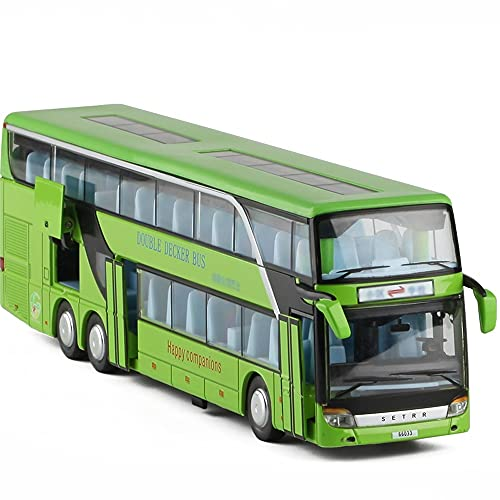 Nuoyazou Aleación Aeropuerto Bus Transporter Metal de dos pisos Modelo de autobús turístico Autobús urbano Autobús de juguete Coche de juguete Sonido y ligero Tire hacia atrás Coche de juguete anticaí