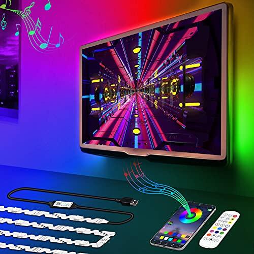 DANCRA LED TV Hintergrundbeleuchtung, RGB LED Streifen Für 60 bis 80 Zoll ,5M/16.4ft USB LED Strip, APP-Steuerung, Bias Beleuchtung Für HDTV, PC Bildschirm, Schlafzimmer,Spielzimmer,Raumdekoration