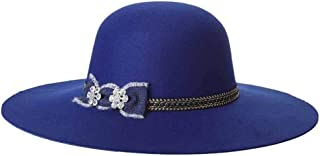 Lei Zhang New Big Woolen Bonnet Fashion Ladies hat top hat (Color : Blue, Size : 57cm)