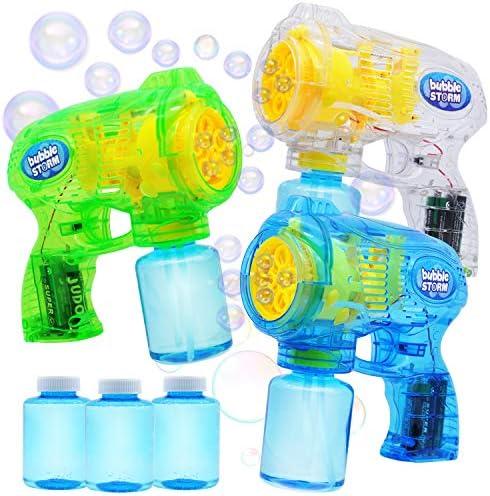 JOYIN 3 Bubble Guns Blaster Kit Automatic Bubble Maker Blower Machine with 3 Bubble Solutions product image