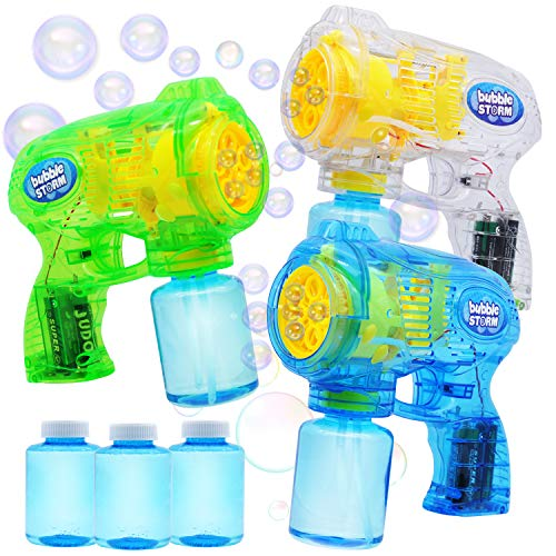 JOYIN 3 Bubble Guns Blaster Kit Automatic Bubble Maker Blower Machine with 3 Bubble Solutions for Kids, Bubble Blower for Bubble Party Favors, Summer Toy, Birthday, Outdoor & Indoor Activity, Easter