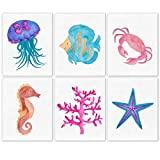 Sea Creatures Poster Prints, Set of 6 (8x10) Unframed Pictures, Great Nautical Wall Art Decor Gifts Under 20 for Home, Office, Nursery, Beach House, Studio, Shop, Student, Teacher, Children, Fan