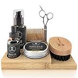 Striking Viking Beard Grooming Kit with Caddy; Beard Care Oil and Balm, Beard Shampoo, Wooden Comb, Boar Brush, & Scissors - All in One Beard Gift Set for Men