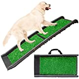 Foldable Lightweight Pet Travel Ramp with Carry Handles for Dogs and Cats, Perfect for Cars, Vans, SUVs, Trucks, Automobiles - Supports Over 150lbs Includes High Traction Non-Slip Incline (Grass Turf)