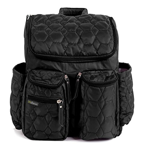 Diaper Backpack by Wallaroo  with Stroller Straps Wet Diaper Bag and Changing Pad – for Women and Men  25 Liters Medium  Black