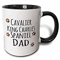 3drose 3drose Cavalier King Charles Spaniel Dog Dad – Doggie by Breed – ブラウンMuddy Paw Prints – 犬愛好家所有者 – 2トーンブラック、11オンス( Mug _ 153882 _ 4)、、ブラック/ホワイト[3dRose/amazon]
