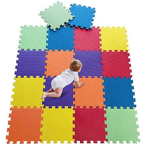 DrNanhai Alfombra puzle para Niños 18 Piezas Multi Color Alfombrillas de Enclavamiento Suelo Estera para Suelos,Ideal para Gimnasio, Zona de Juegos,Ejercicio,Yoga de bebé Play Alfombrillas